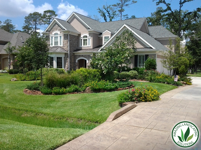 landscaped front yard green
