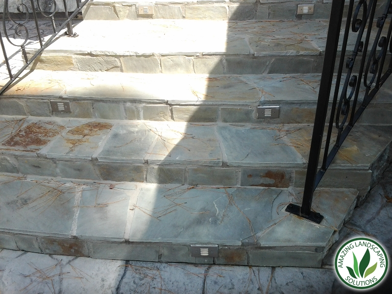 marble stone staircase landscape in Spring Valley, TX