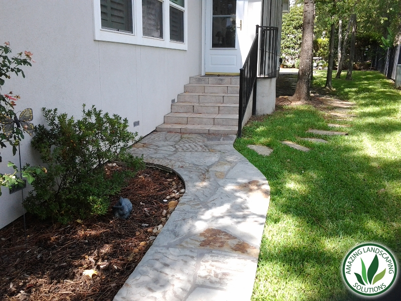 marble stone staircase and pathway landscaping