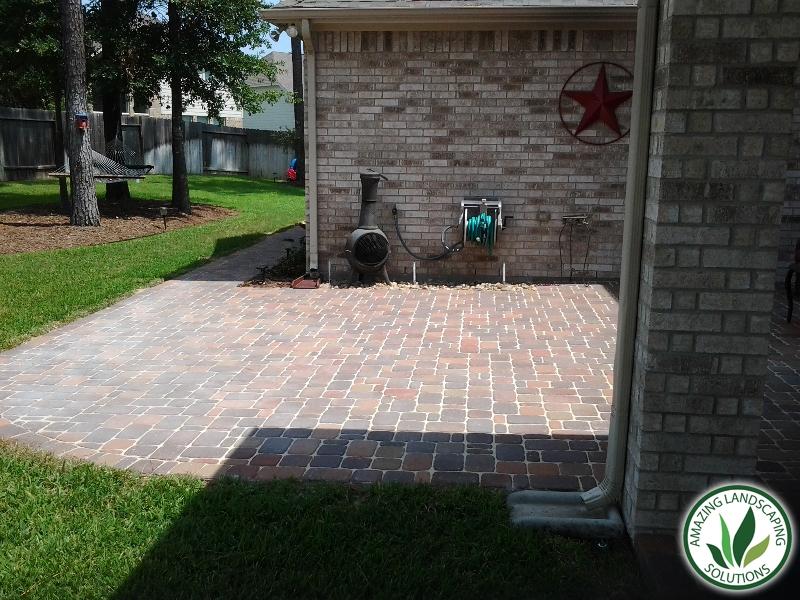 stone brick patio and eco-friendly trees landscape