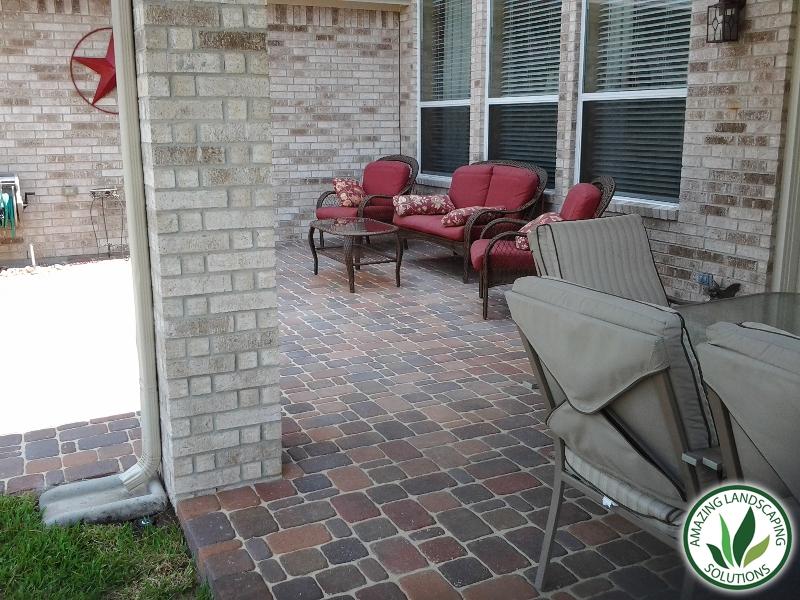 backyards stone bricked patios with drainage
