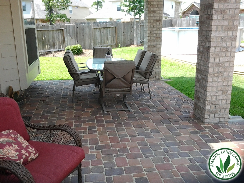 stone bricked patios with bricked post landscape