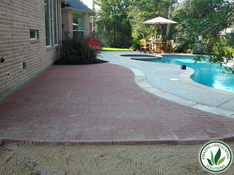 backyard pool marble stone pathway landscape