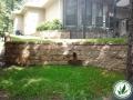 stone brick walled lawn grass