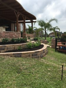 Front yard bricked staircase with retaining wall in Tomball, TX