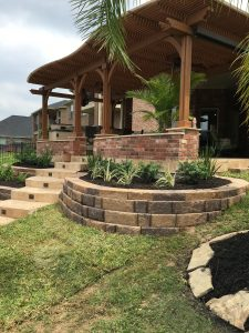 Brick staircase and retaining wall in Tomball, TX