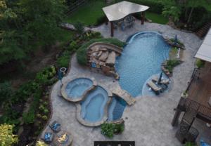 Aerial view backyard pool landscaping in Conroe, TX