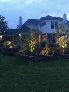 Retaining wall with lighting in The Woodlands